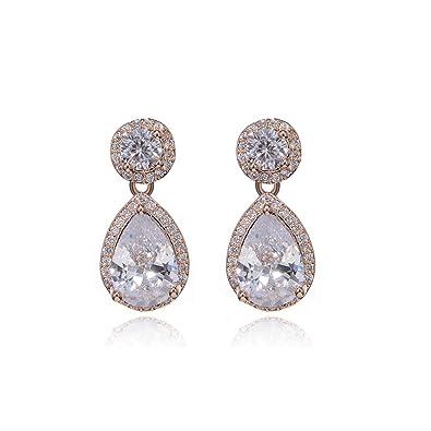 b02d5fefe Women's CZ Teardrop Dangle Earrings Small 14K Rose Gold Plated Sterling  Silver Double Halo Pear Shaped