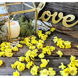 Wedding Table Decor, Bridal Shower Decorations, Baby Shower Table Decor, Flower Confetti, Sweetheart Table Decor, Dessert Table, Yellow 15