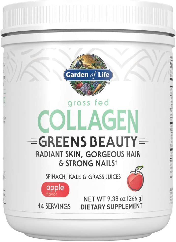Garden of Life Grass Fed Collagen Greens Beauty Powder - Apple, 14 Servings, Collagen Powder for Women Skin Hair Nails Joints, Collagen Peptides Powder, Collagen Protein + Greens, Collagen Supplement