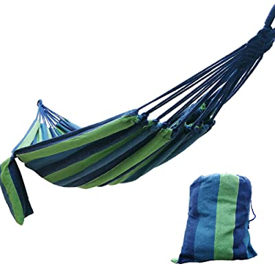 "CARAPEAK Extra Large Brazilian Cotton Polyester Double Hammock for Garden, Backyard or Camping - Indoor Outdoor - Comfortable 2 Person Portable Folding Hammock Bed (146"" L x 63"" W, Blue & Green) : Garden & Outdoor"