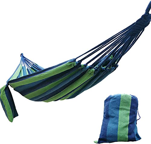 CARAPEAK Extra Large Brazilian Cotton Polyester Double Hammock for Garden, Backyard or Camping – Indoor Outdoor – Comfortable 2 Person Portable Folding Hammock Bed 146 L x 63 W, Blue Green