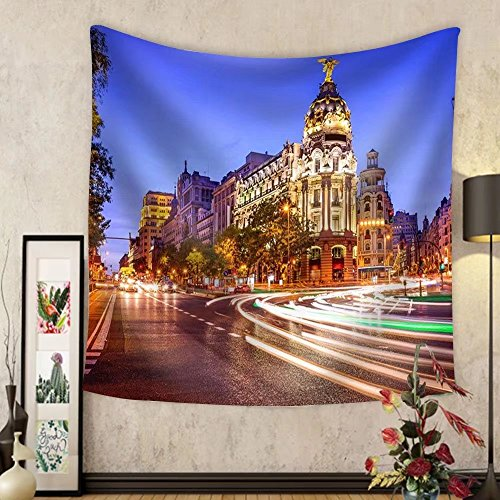 Niasjnfu Chen Custom tapestry Madrid Spain Cityscape at Night. - Fabric Wall Tapestry Home Decor by Niasjnfu Chen