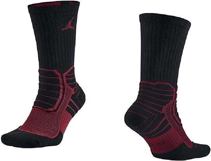 Air Jordan Men's Dri-fit Performance Socks 642209 010 S-Black/Red (Small (3Y-5Y))