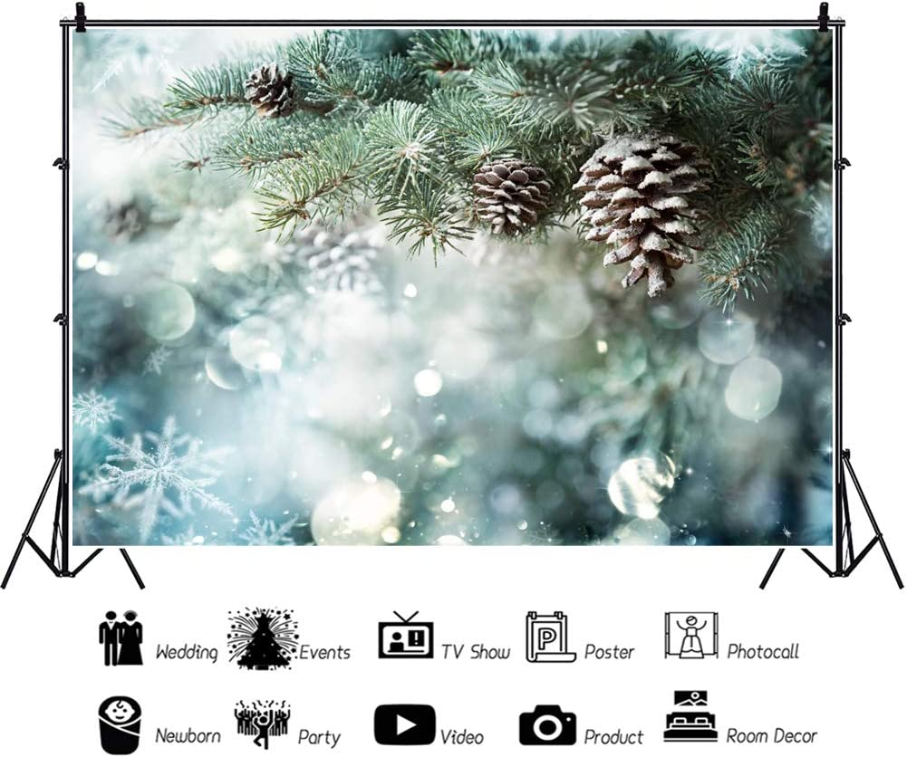 Yeele 10x8ft Snowy Pine Tree Backdrop Christmas Morning Winter Pine Cone Photography Background Xmas Party Decoration Kids Adult Artistic Portrait Baby Acting Show Photo Booth Photoshoot Props