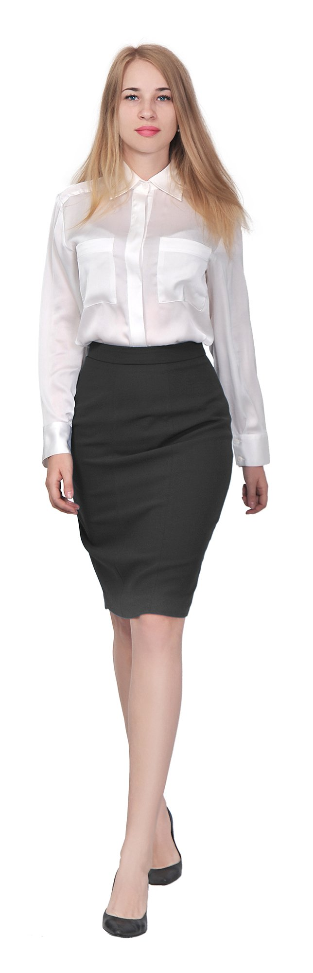 Marycrafts Women's Lined Pencil Skirt 4 Work Business Office 2 black by Marycrafts (Image #4)