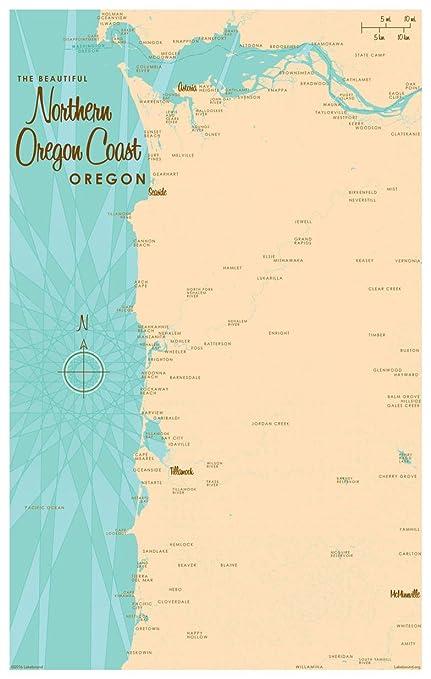 Amazon.com: Northern Oregon Coast Oregon Map Vintage-Style Art Print ...