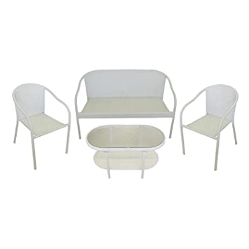 4 piece white resin wicker patio furniture set loveseat 2 chairs rh amazon co uk Pottery Barn Outdoor Furniture IKEA Patio Furniture Wicker