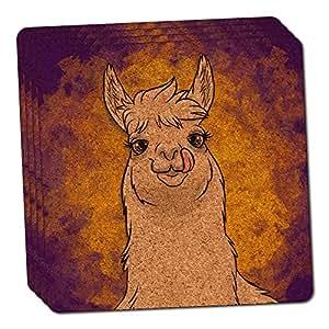 Llama Sticking Out Tongue Thin Cork Coaster Set of 4