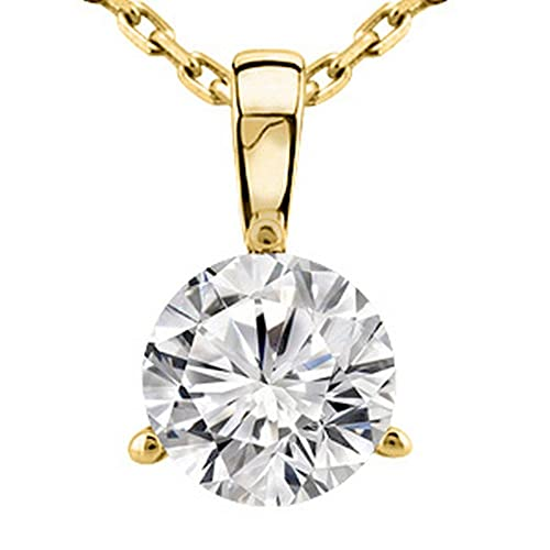 0.3 1/3 Carat 14K White Gold Round Diamond Solitaire Pendant Necklace 3 Prong H-I Color SI2-I1 Clari...