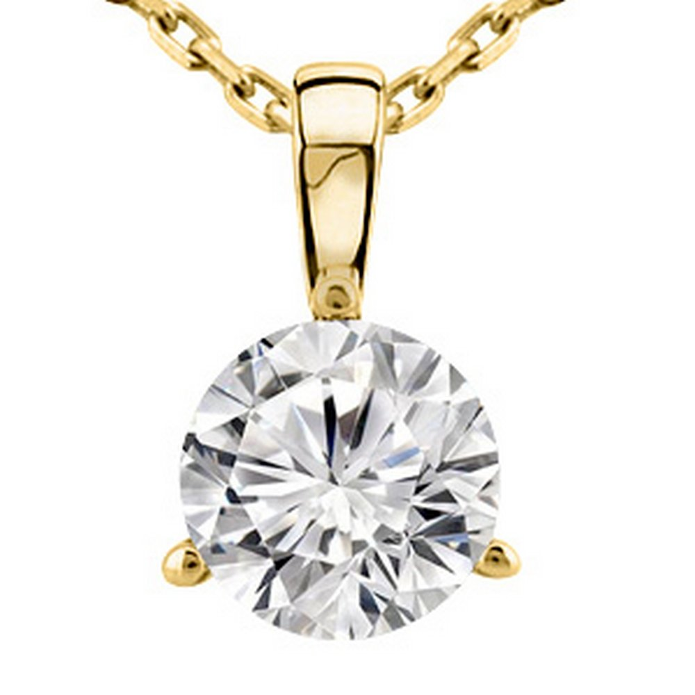 2 Carat 14K Yellow Gold Round Diamond Solitaire Pendant Necklace 3 Prong J-K Color VS1-VS2 Clarity