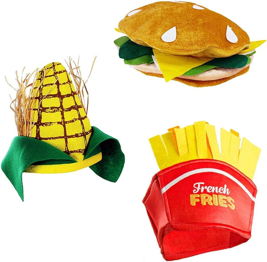 Tigerdoe Food Hats – Fast Food Hats - Burger Hat - Fries Hats - Corn On The Cob Hat - Food Costumes (3 Pack)