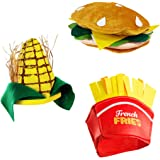 Food Hats – Fast Food Hats - Burger Hat - Fries Hats - Corn On The Cob Hat - Food Costumes (3 Pack) by Tigerdoe