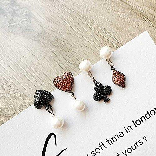 usongs 925 needles earrings women girls hearts playing cards Plum Micro Pave zircon pearl earrings earrings wholesale asymmetric ()