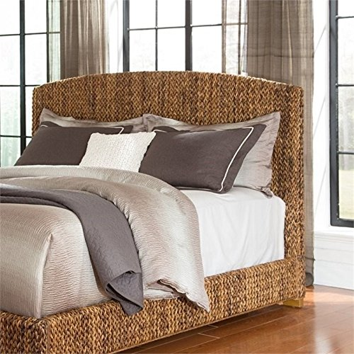 BOWERY HILL King Banana Leaf Platform Headboard in Natural