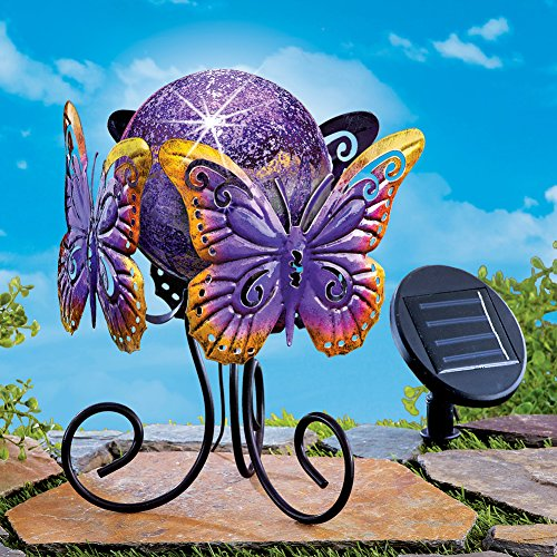 Purple Solar Lighted Garden Gazing Ball Decoration with Metal Butterfly Stand by Collections Etc (Image #1)