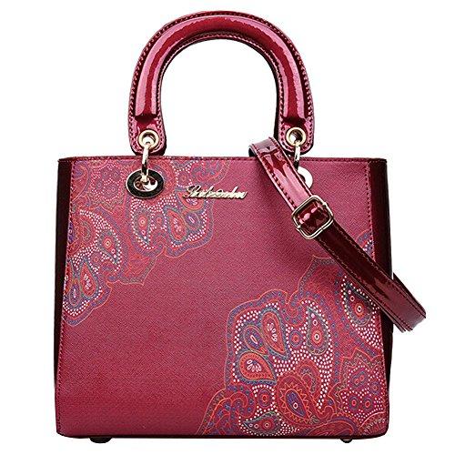 Borse Donna Borsa A Tracolla Borsette PU Pelle Tote Bag Borse A Mano Di Elegante Printing Bodeaux