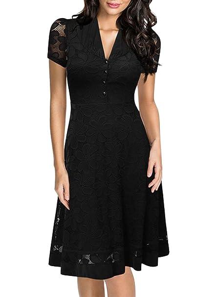 Vestido negro con manga corta