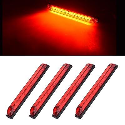 """Catinbow 4pcs 8"""" LED Clearance Marker Lights 18 Diodes Sealed Waterproof Utility Strip Light Bar For 12V Trailer Boat ATV Marine Marker lights, side marker light-Red: Automotive"""