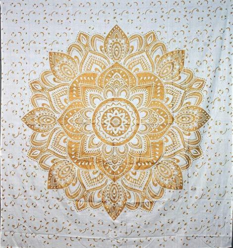 (ANJANIYA Golden Heart Ombre Mandala Beautiful Bohemian Room Decor Hippie Indian Small Boho Tapestry Psychedelic Poster Size 40