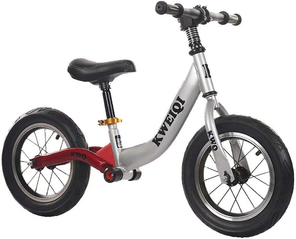 Bicicleta de equilibrio para niños sin pedal bicicleta scooter amortiguador equilibrio coche scooter para niños (plateado)