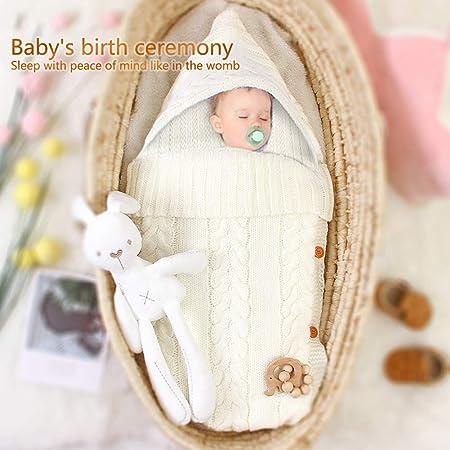 Beige B, 38 * 70cm Schlafs/äcke Baby Winter,Neugeborenes Baby Gestrickt Wickeln Swaddle Decke Kinderwagen Schlafsack f/ür 0-24 Monat Baby