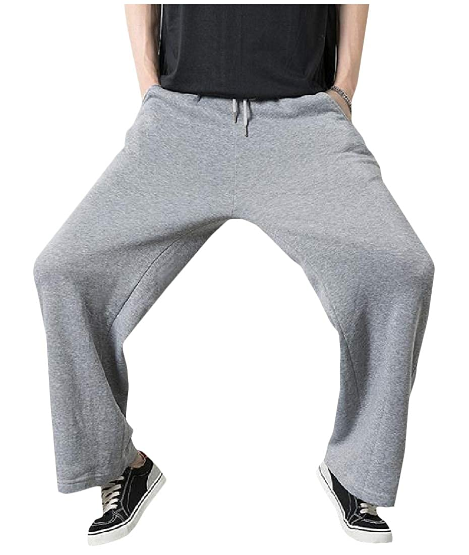 DressU Mens Baggy Bell-Bottoms Hip Hop Mid-Rise Strappy Sport Pants