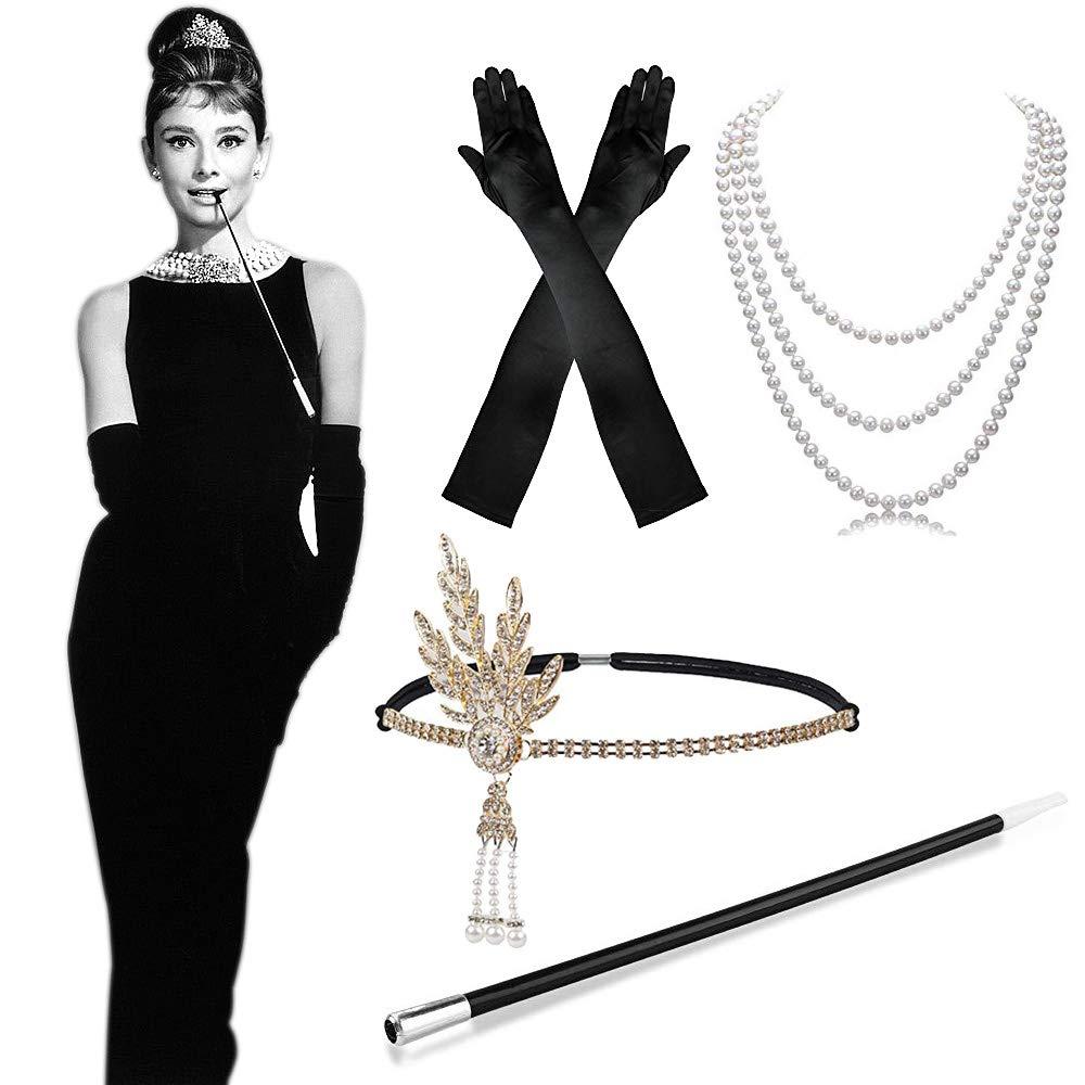 MMTX 1920s Kostüm Damen Flapper Accessoires Set 20er Jahre Halloween Kostümzubehör Kleid Große Gatsby Zubehör Retro Stil Stirnband Inspiriert Accessoires, lange schwarze Satin Handschuhe, Halskette, lange Zigarettenhalter für Frauen, Damen