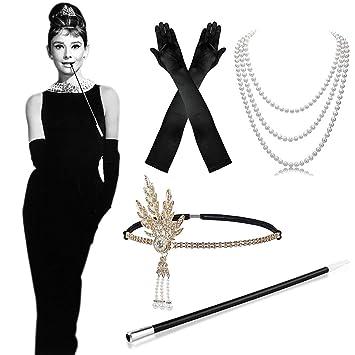 279b233643d91c MMTX 1920s Kostüm Damen Flapper Accessoires Set 20er Jahre Halloween  Kostümzubehör Kleid Große Gatsby Zubehör Retro