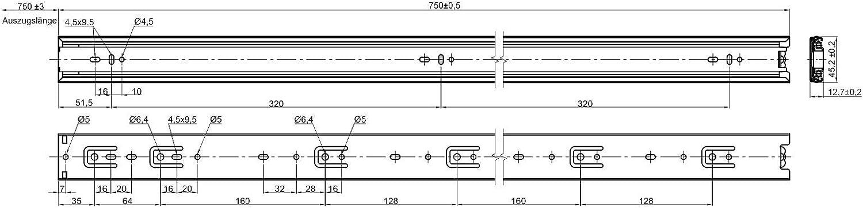 Schubladenausz/üge ideal f/ür den Au/ßenbereich Junker 1 Paar Slides Edelstahl Vollausz/üge KV7-45-H45-L500-NF SS304 500 mm Belastbar bis 45 Kg EN 1.4301