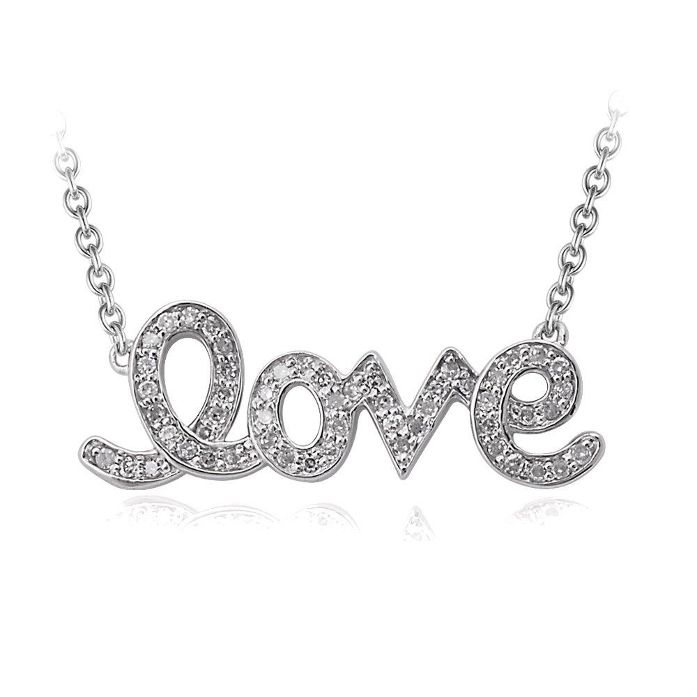925 Sterling Silver Love Diamond Pendant Necklace (1/5 Carat)
