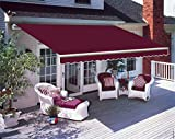 Greenbay 3 m x 2.5m DIY Patio Retractable Manual Awning Garden Sun Shade Canopy Wine Red with Fittings and Crank Handle