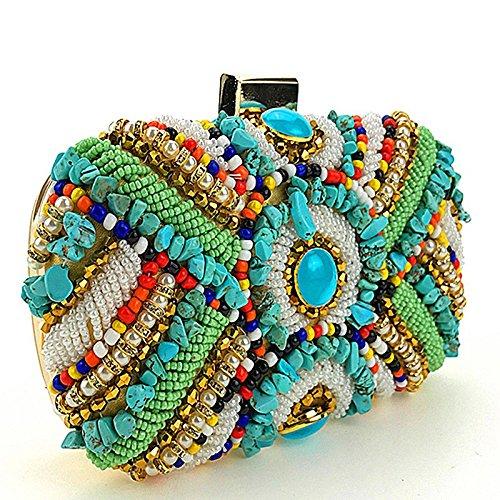 Colorful robe perlé Sac sac avec sac bandoulière soirée tout à Sac Messenger à main petit d'embrayage fourre Messenger main Cheongsam fait Vintage femmes bandoulière de des AnZwq04