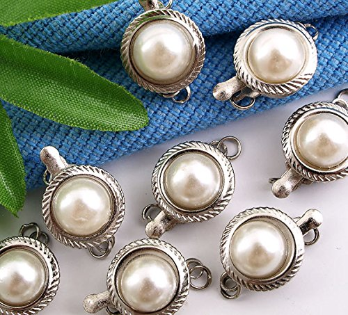 Skyus® 20 Necklace Pearl Jewelry Chain Clasp Buckle Hook 12mm - Pearl Necklace 12mm