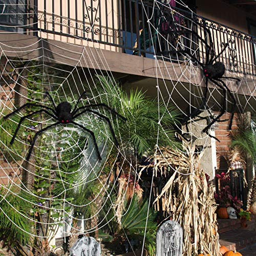 AOJOYS Halloween Scary Giant Spider 6.6 Ft. 200cm Fake Large Hairy Spider Props for Outdoor Decor & Yard Decorations
