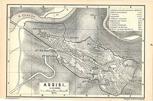 Amazon Com Assisi City Plan 1886 Detailed Antique Italy Map