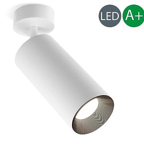 Xodzasg Lámpara de techo LED,foco ajustable de 360°,plafón con focos,luz de techo de montaje en superficie,Metal aluminio,negro,10W (blanco+blanco ...