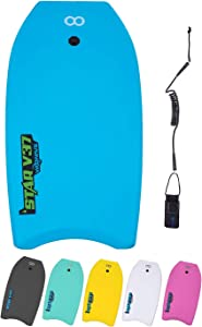 WOOWAVE Bodyboard 33-inch/37-inch/42-inch Premium EVA Body Board with Coiled Wrist Leash,EPS Core and HDPE Slick Bottom,Super Lightweight Boogie Board,Perfect Surfing for Kids Teens and Adults