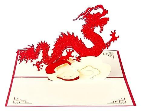 Amazon.com: Pop-up Dragón Chino 3d tarjetas de felicitación ...