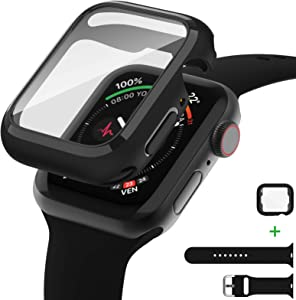 AVIDDA Tempered Glass Screen Protector Compatible for Apple Watch 42mm Series 3/2/1, Soft TPU Ultra-Thin Bumper Full Cover Protective Case for iWatch 42mm Black (Apple Watch Band Include)