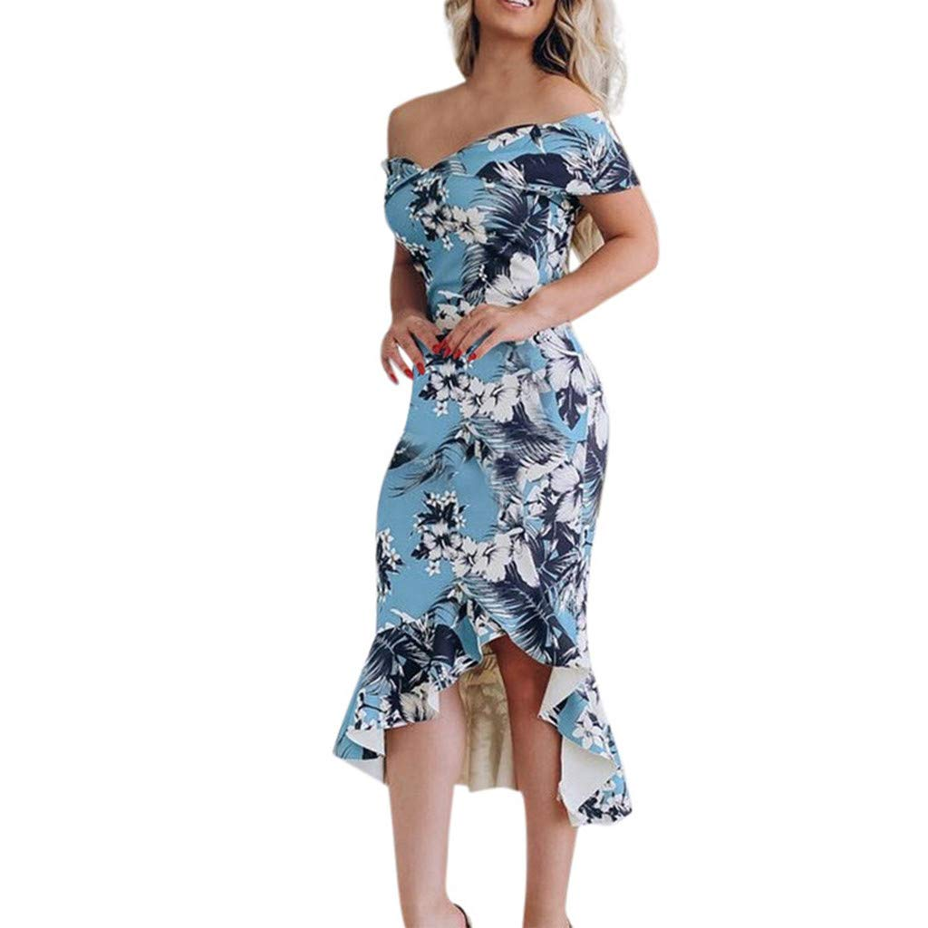 Women Off Shoulder Printed Ruffle Hem Midi Bodycon Dress High Low Cocktail Dress Evening Party (Blue, XL) by Yicolo