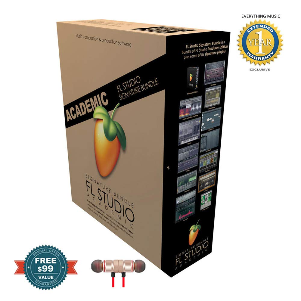 Fl Studio 20 Signature Edition Academic Student/Teacher Boxed includes Free Wireless Earbuds - Stereo Bluetooth In-ear and 1 Year Everything Music Extended Warranty by Image-Line