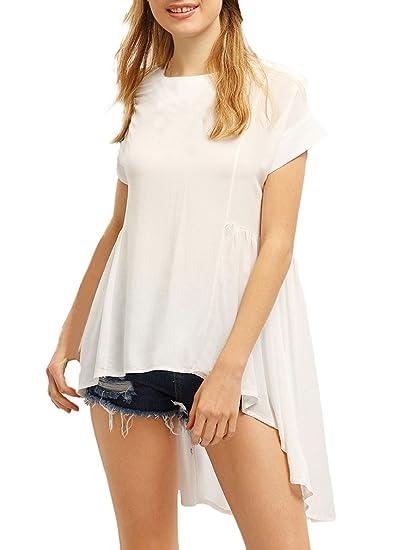 Lanceyy Mujer Camisas Verano Blusa Elegante Chiffon Manga Corta Cuello Sencillos Especial Redondo Asimetricos Blanco Largos Cola De Golondrina Casuales ...