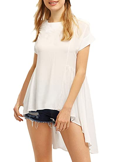 Anaisy Mujer Camisas Verano Blusa Elegante Chiffon Manga Corta Cuello Redondo Asimetricos Blanco Largos Joven Bastante Cola De Golondrina Casuales Shirts ...