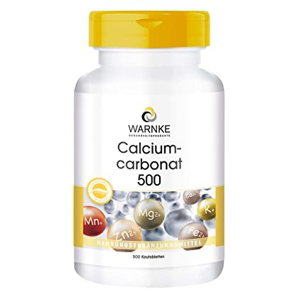 Carbonato de Calcio – Vegano – 500 comprimidos masticables – 188mg de Calcio – Bote grande