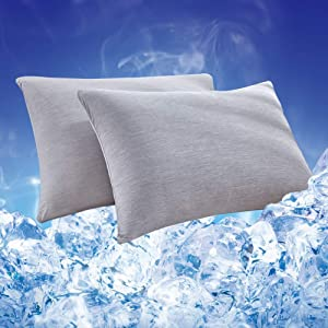 HOMBYS 2 Packs Cooling Pillowcases Queen Size, Double Sides Q-MAX 0.4 Cooling Fiber Pillow Covers,Breathable,Ultra Soft,Machine Washable,Envelope Closure End Easy Fit (Meteorite Gray, Queen)