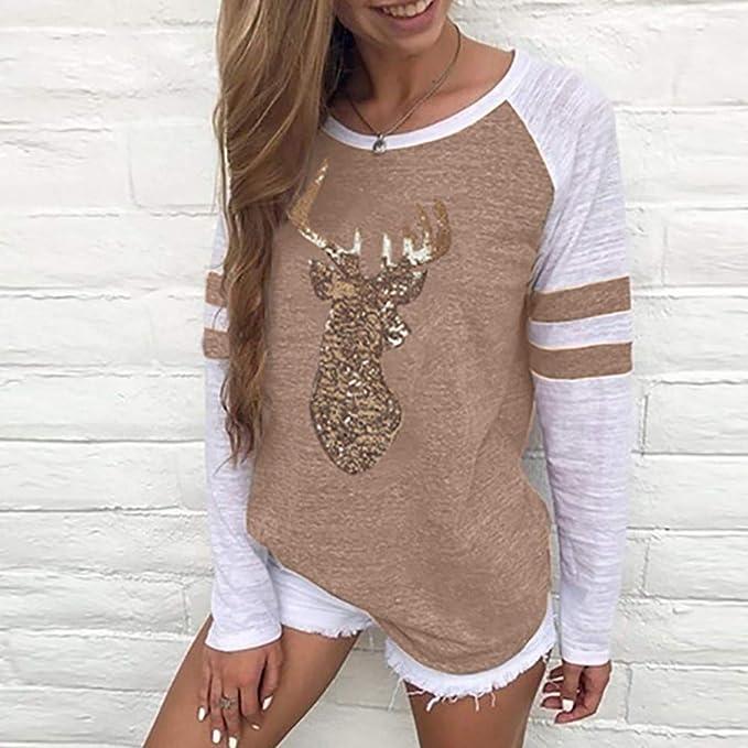 Luckycat Camiseta de Blusas de Reno de Navidad para Mujer del Festival Camiseta de Manga Larga de Navidad para Xmas: Amazon.es: Ropa y accesorios