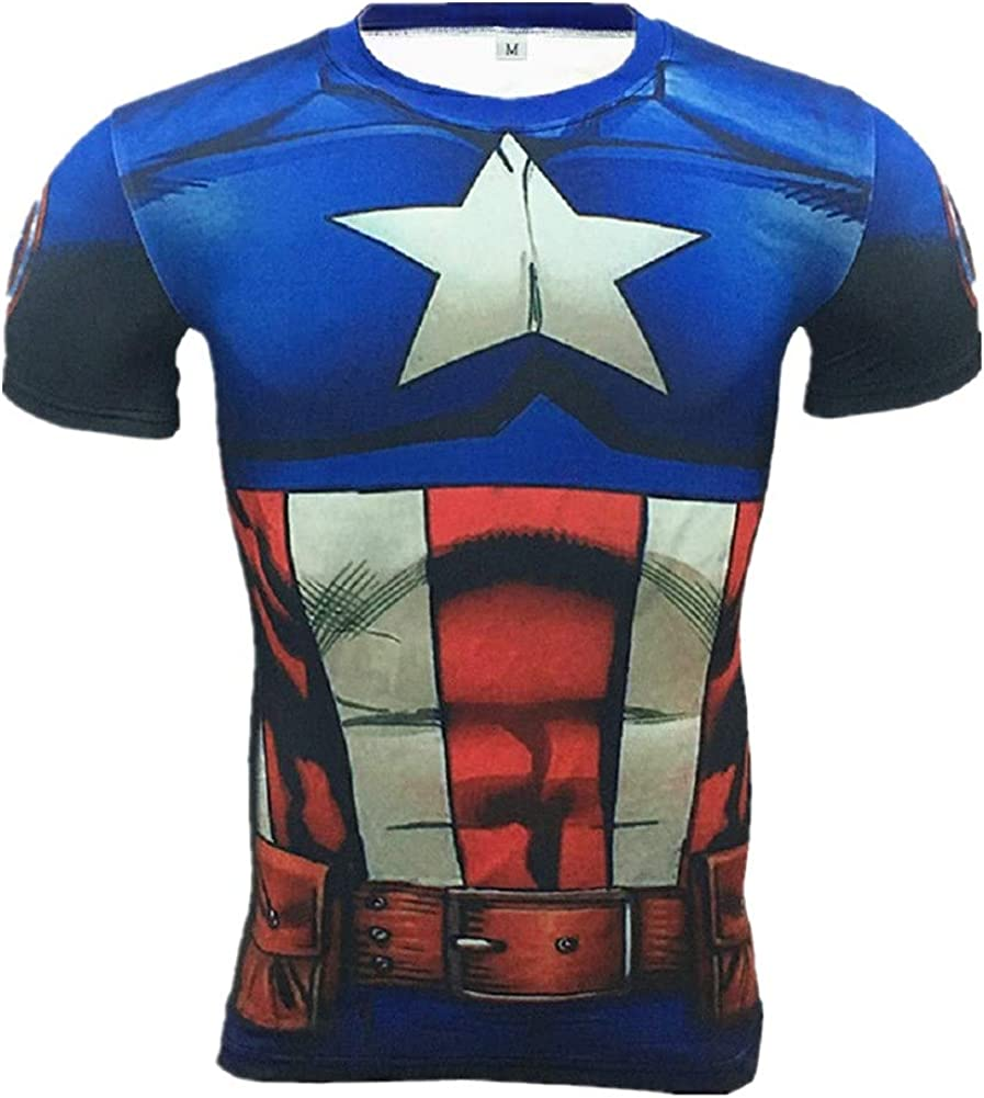 Cosfunmax Superhero Captain Team Leader Compression Shirt Sports Gym Ruining Base Layer