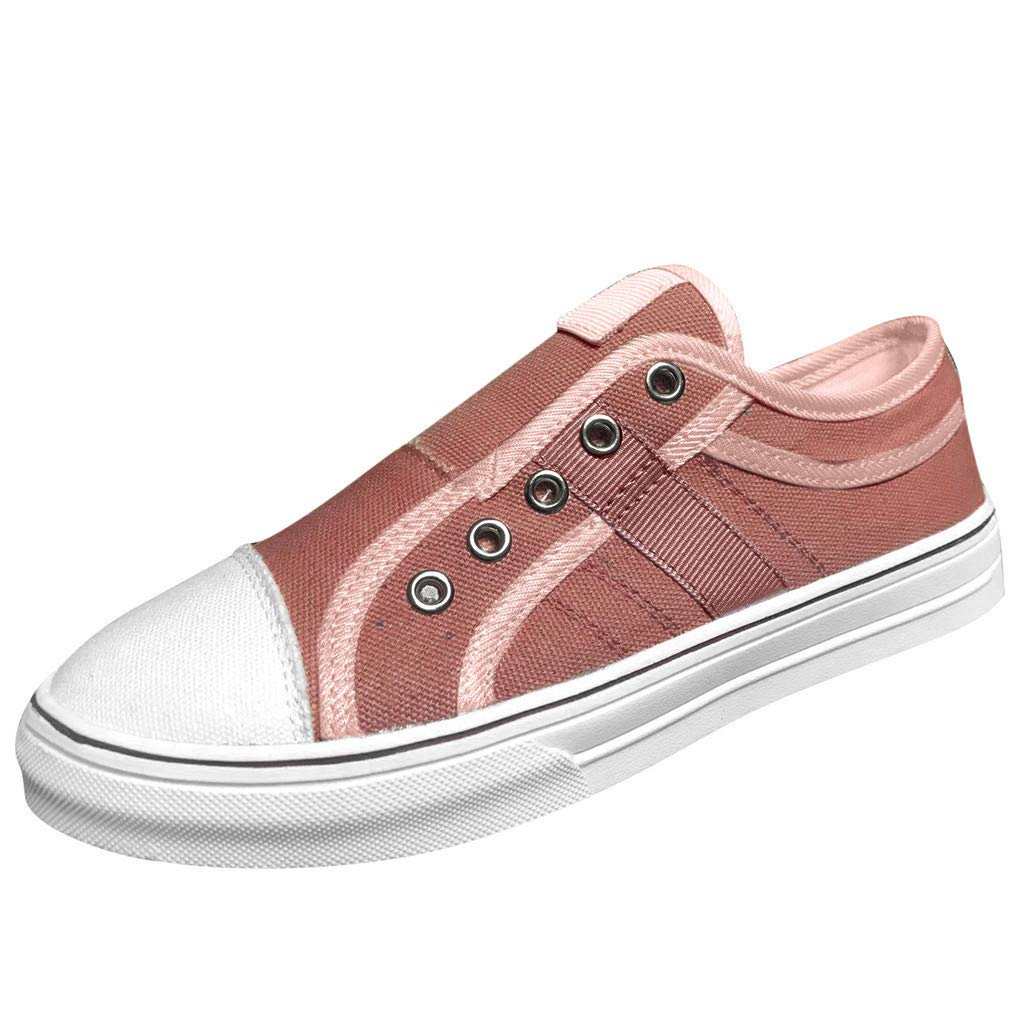 Womens Fashion PU Leather Sneakers Low Top Lace up Canvas Shoes Pink by Dunacifa Women Shoes
