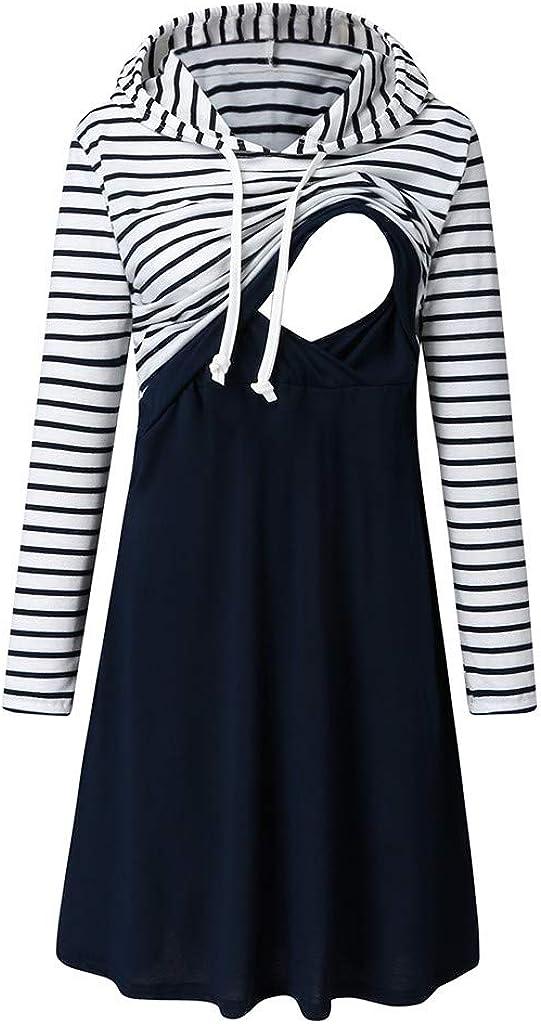 SCHOLIEBEN Dress for Breastfeeding with Hooded Women Maternity Long Sleeve Striped Nursing