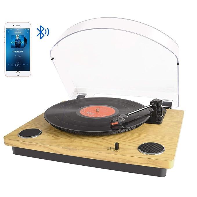 Tocadiscos Bluetooth para Vinilo con Altavoces estéreo, conversión de Vinilo a USB, soporta el Brazo de Retorno y Parada automáticamente / Salida RCA ...